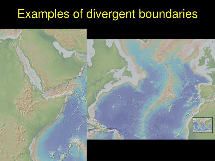Examples of divergent boundaries