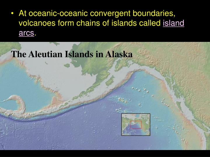 At oceanic-oceanic convergent boundaries, volcanoes form chains of islands called