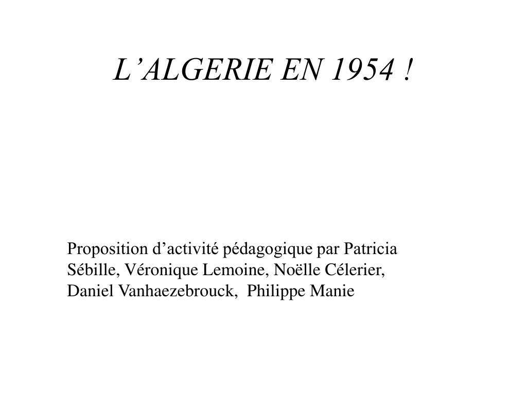 l algerie en 1954