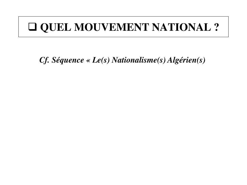 QUEL MOUVEMENT NATIONAL ?