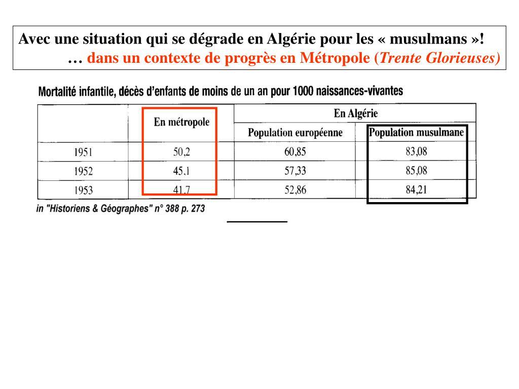 Avec une situation qui se dégrade en Algérie pour les «musulmans»!