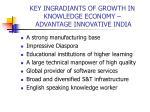 key ingradiants of growth in knowledge economy advantage innovative india