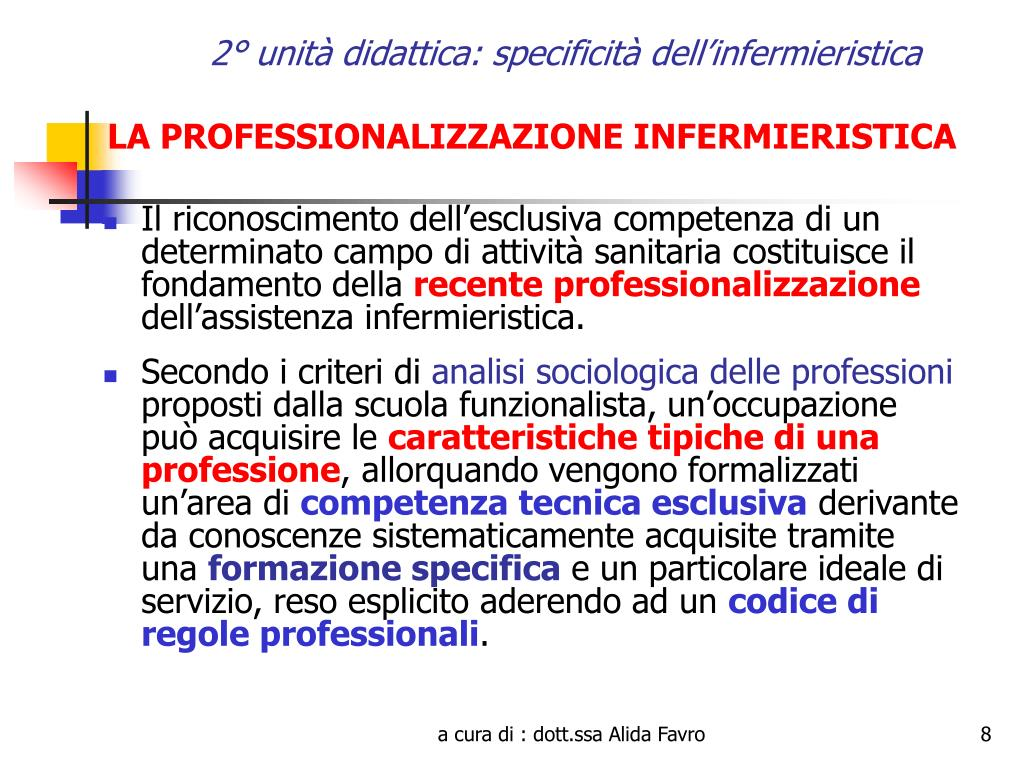2° unità didattica: specificità dell'infermieristica