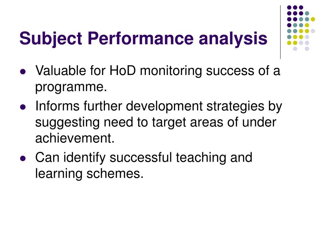 Subject Performance analysis