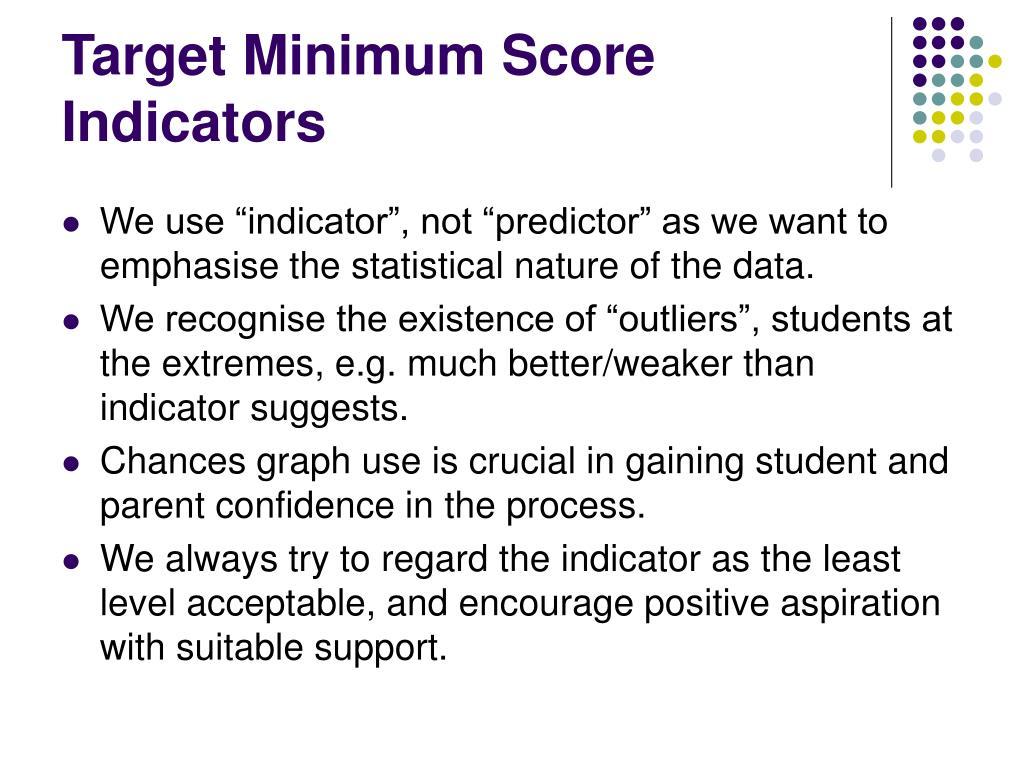 Target Minimum Score Indicators