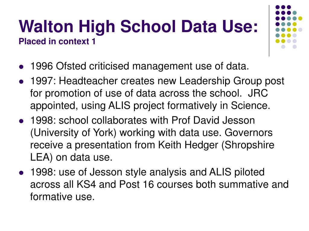 Walton High School Data Use: