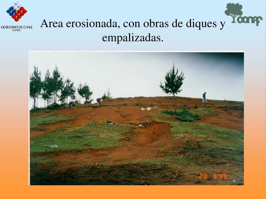 Area erosionada, con obras de diques y empalizadas.