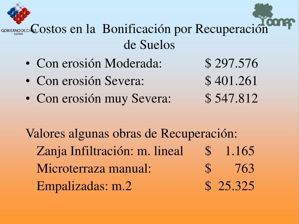 Costos en la  Bonificacin por Recuperacin  de Suelos
