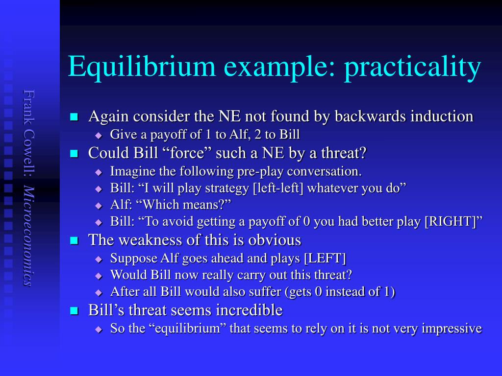 Equilibrium example: practicality