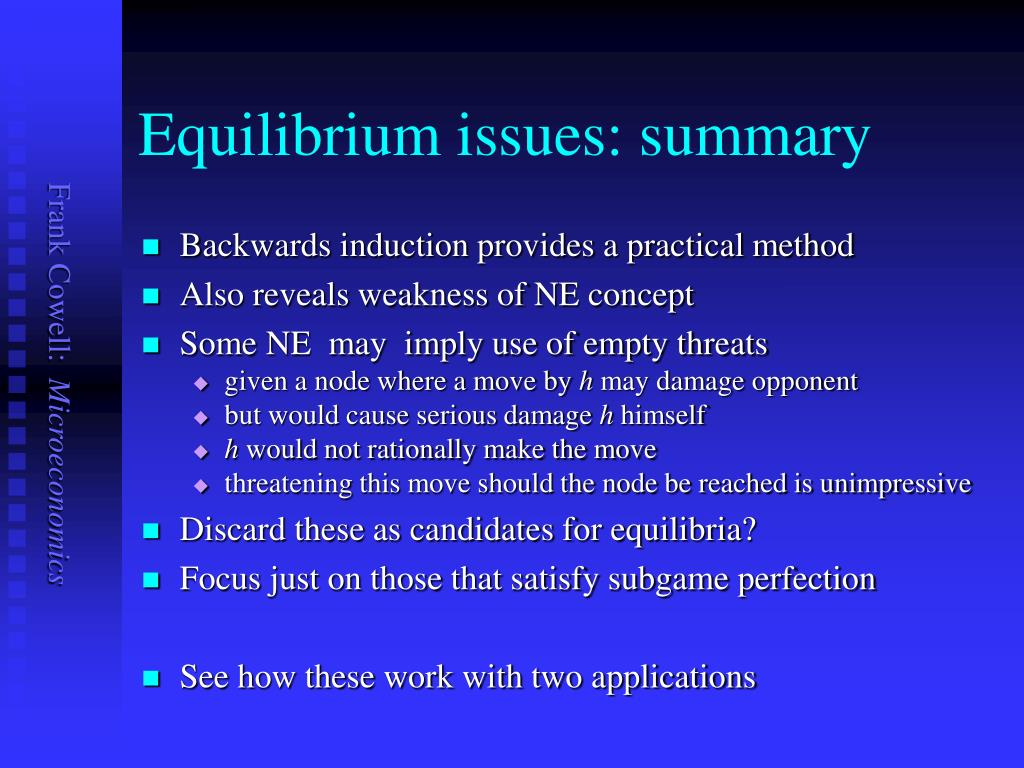Equilibrium issues: summary