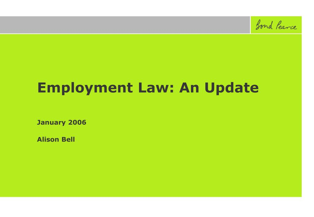 Employment Law: An Update