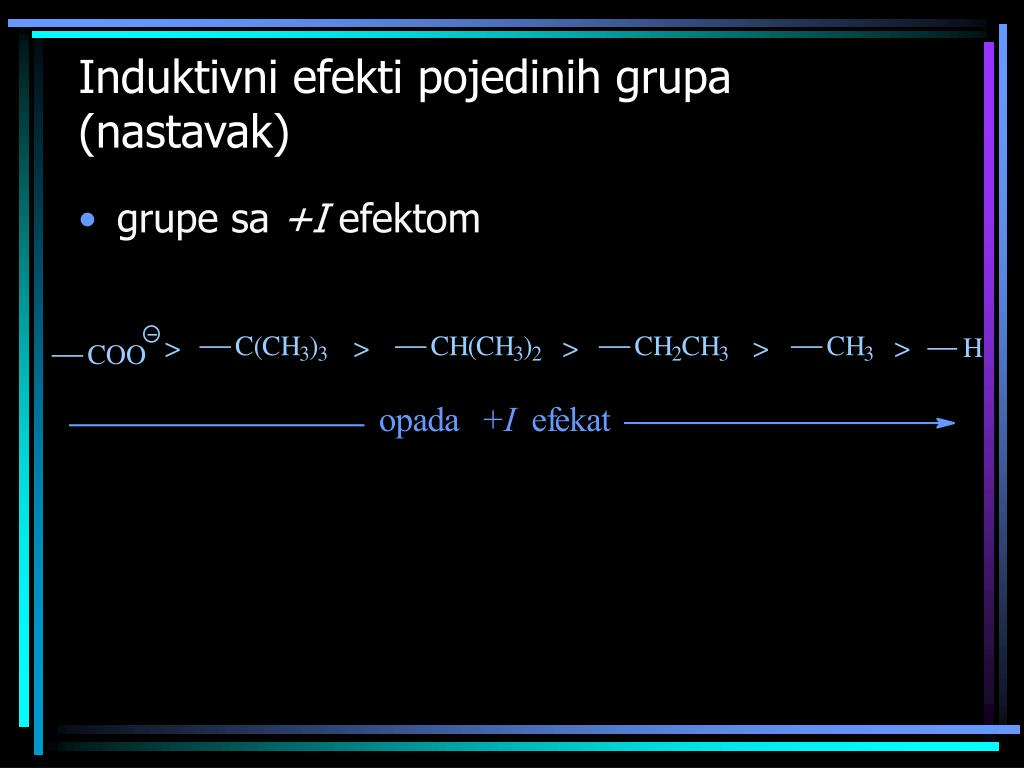 Induktivni efekti pojedinih grupa (nastavak)