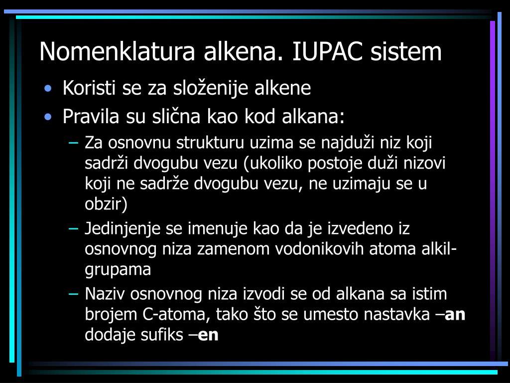 Nomenklatura alkena. IUPAC sistem