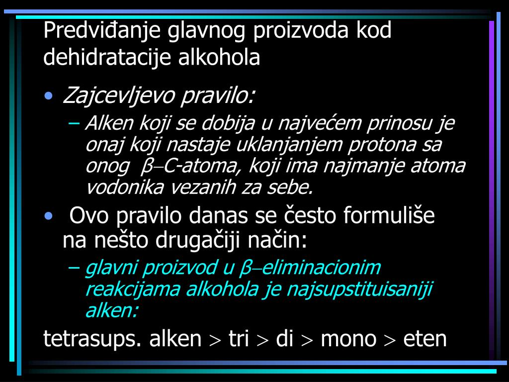 Predviđanje glavnog proizvoda kod dehidratacije alkohola