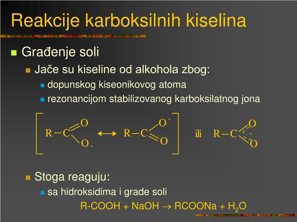 Reakcije karboksilnih kiselina