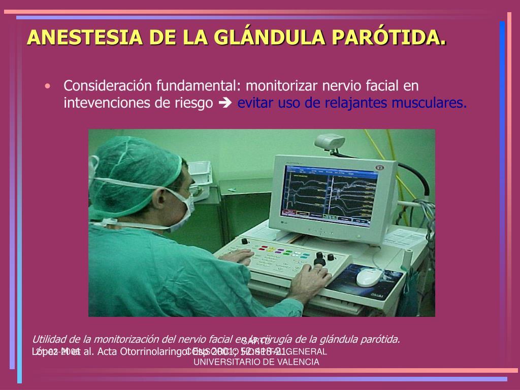 ANESTESIA DE LA GLÁNDULA PARÓTIDA.