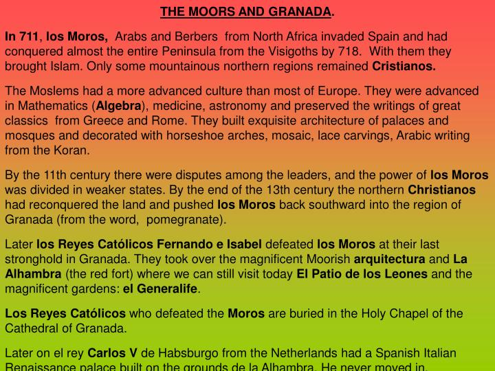THE MOORS AND GRANADA