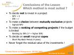 conclusions of the lesson which method is most suited
