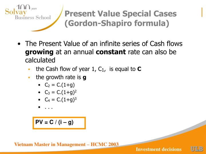 Present Value Special Cases