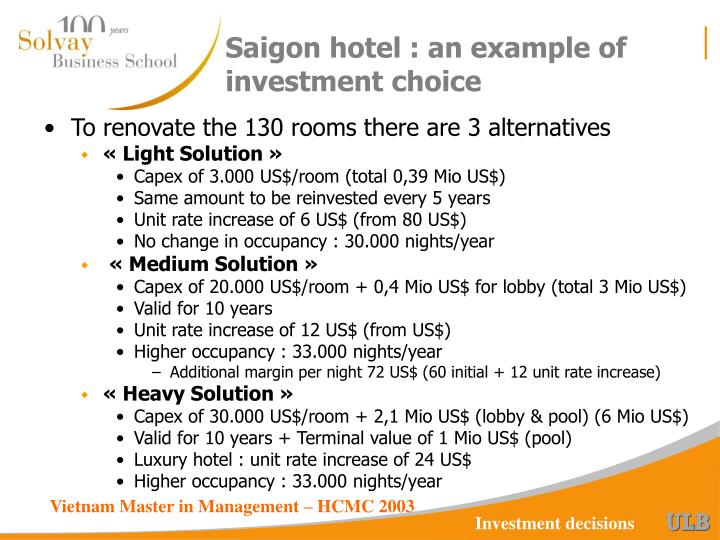 Saigon hotel : an example of investment choice