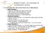 saigon hotel an example of investment choice