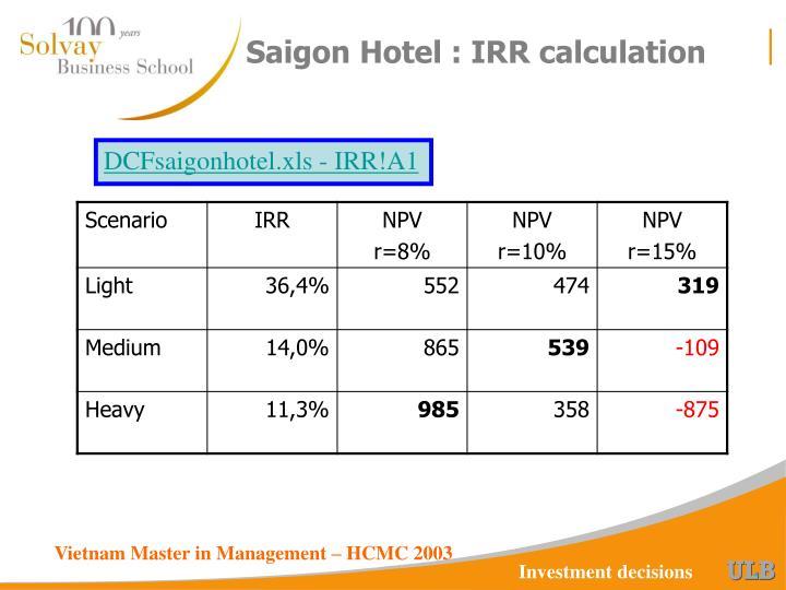 Saigon Hotel : IRR calculation