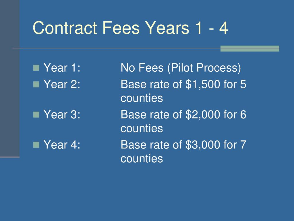 Contract Fees Years 1 - 4