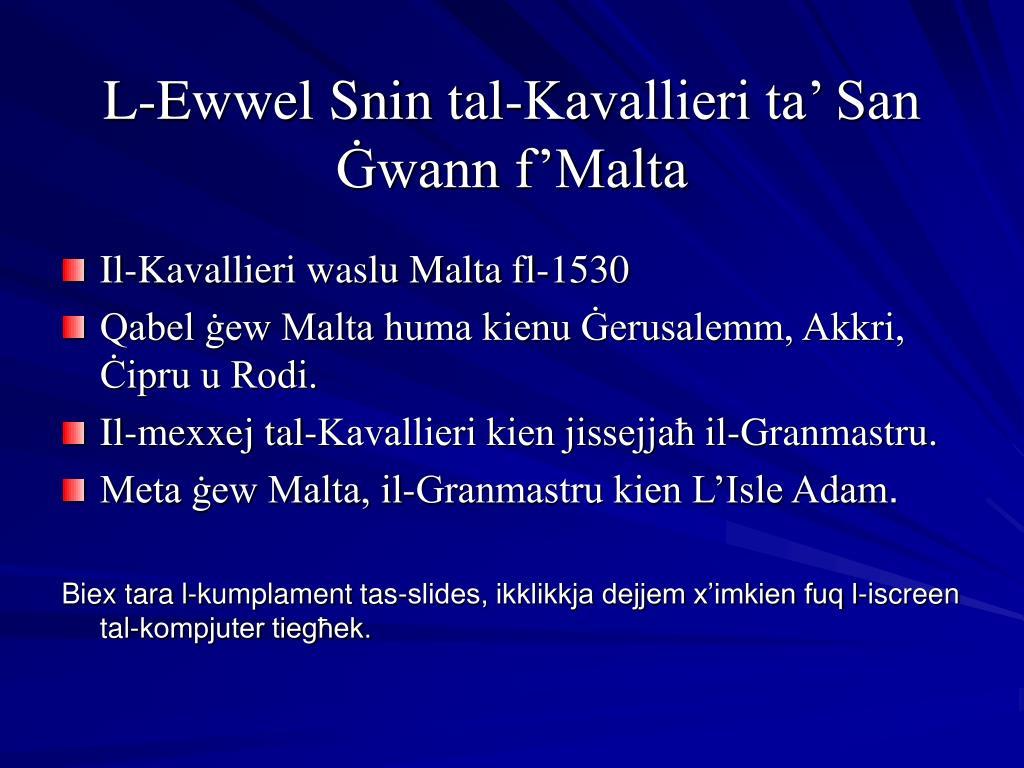 L-Ewwel Snin tal-Kavallieri ta' San Ġwann f'Malta