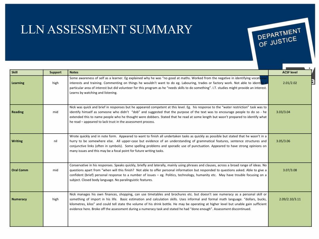 LLN ASSESSMENT SUMMARY