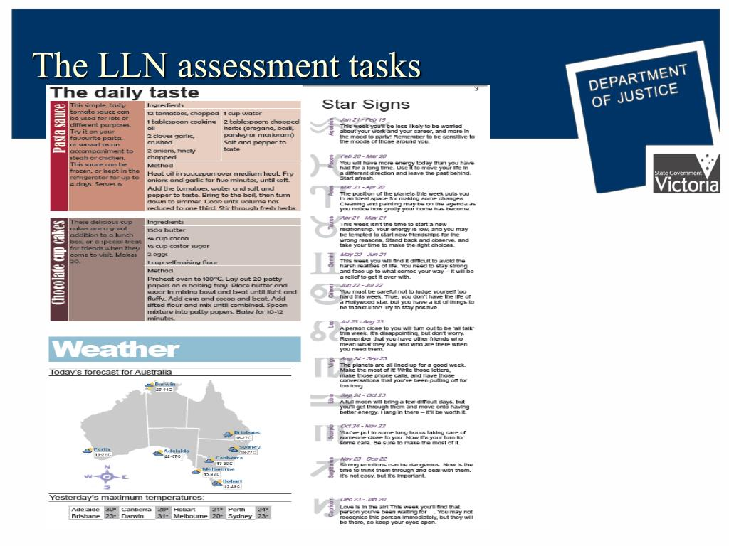 The LLN assessment tasks