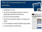 the lln assessment tool includes