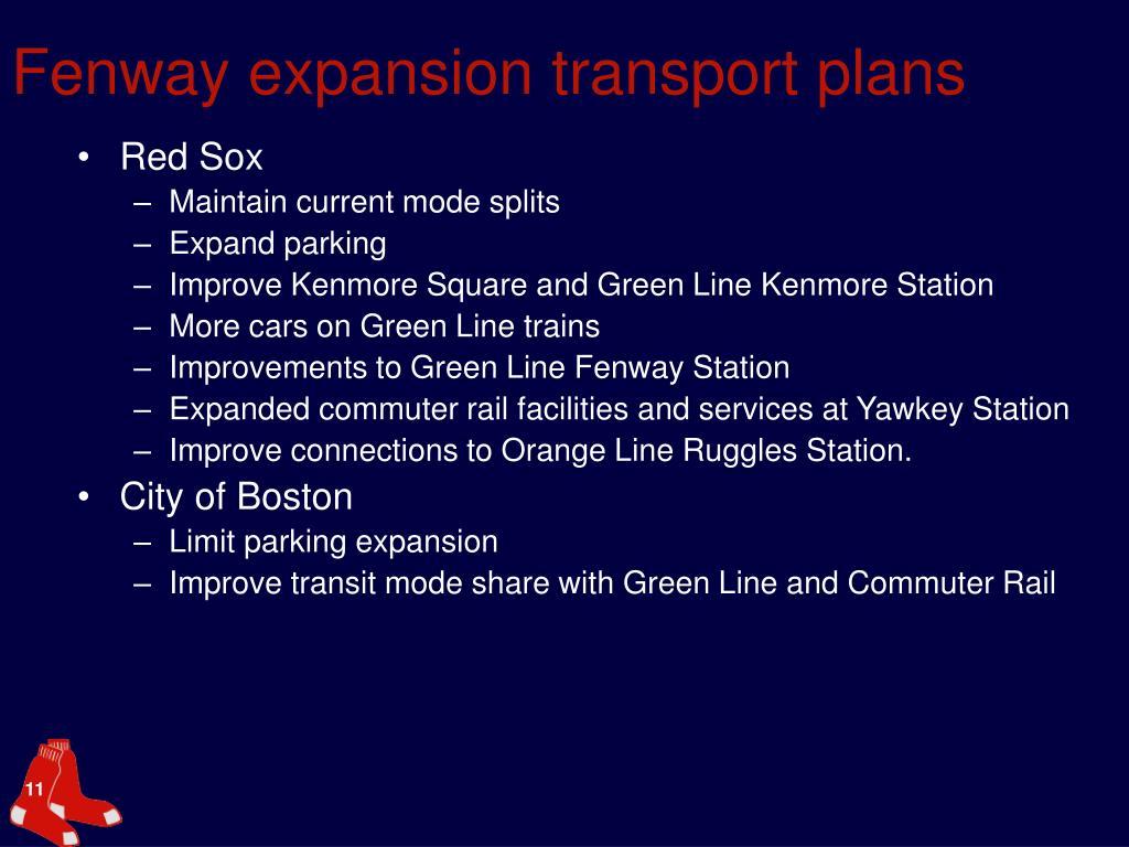 Fenway expansion transport plans
