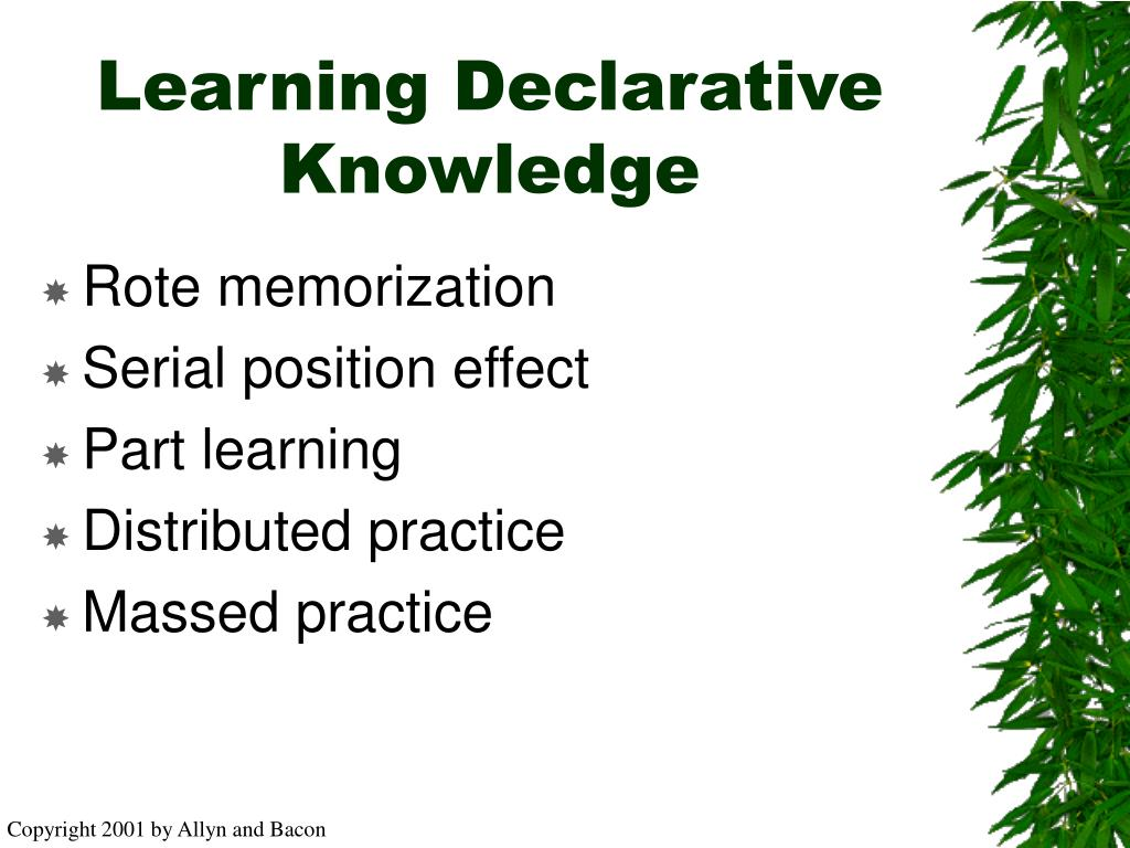 Learning Declarative Knowledge