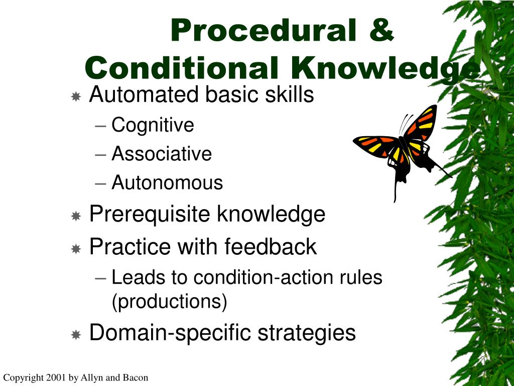Procedural & Conditional Knowledge