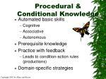 procedural conditional knowledge