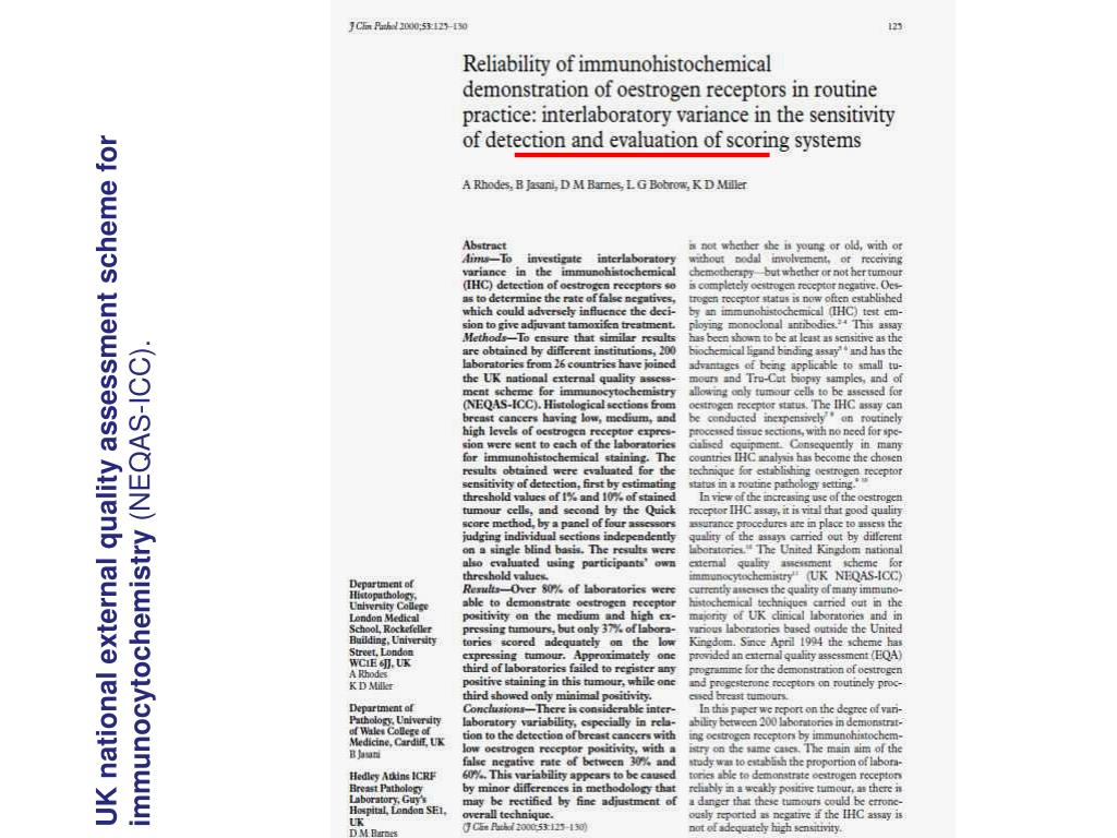UK national external quality assessment scheme for immunocytochemistry