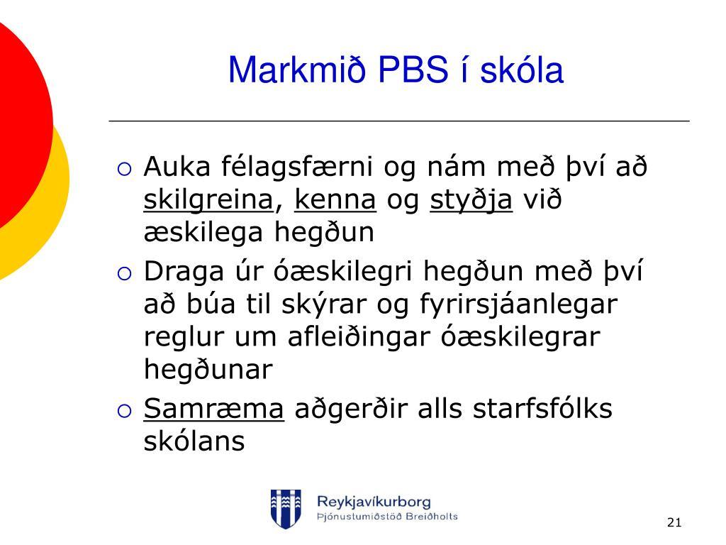 Markmið PBS í skóla