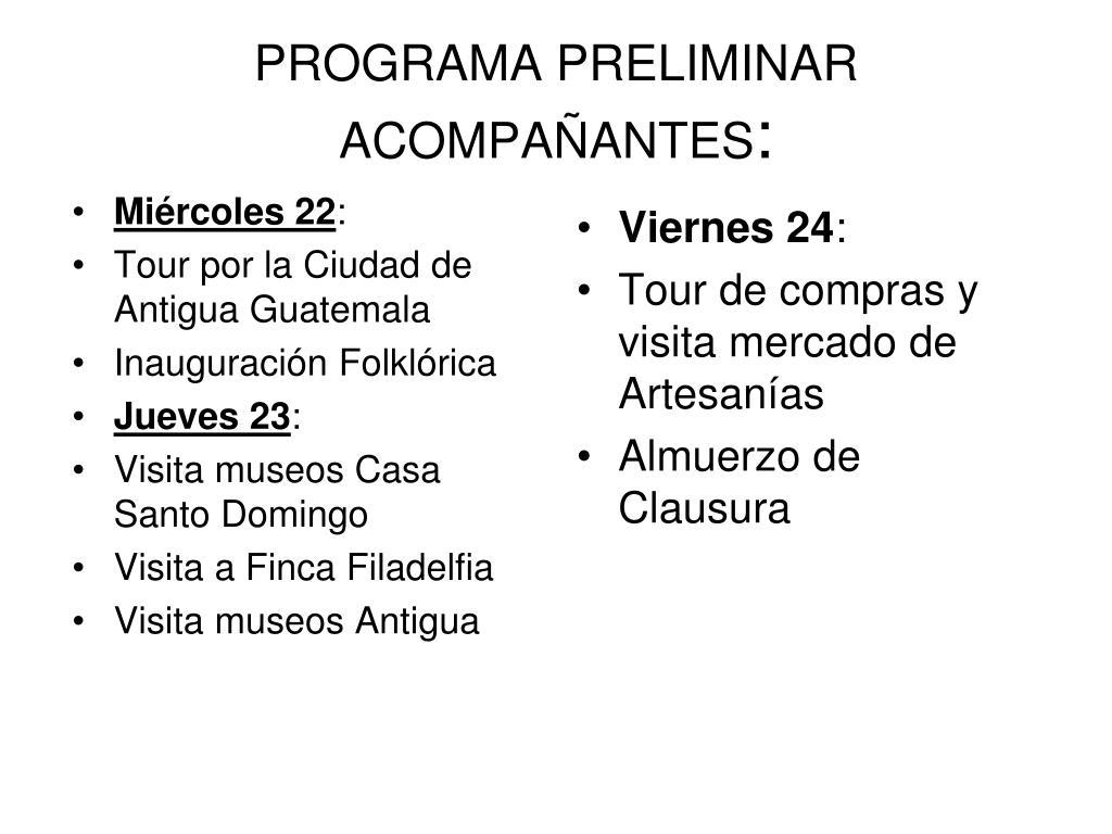 PROGRAMA PRELIMINAR ACOMPAÑANTES