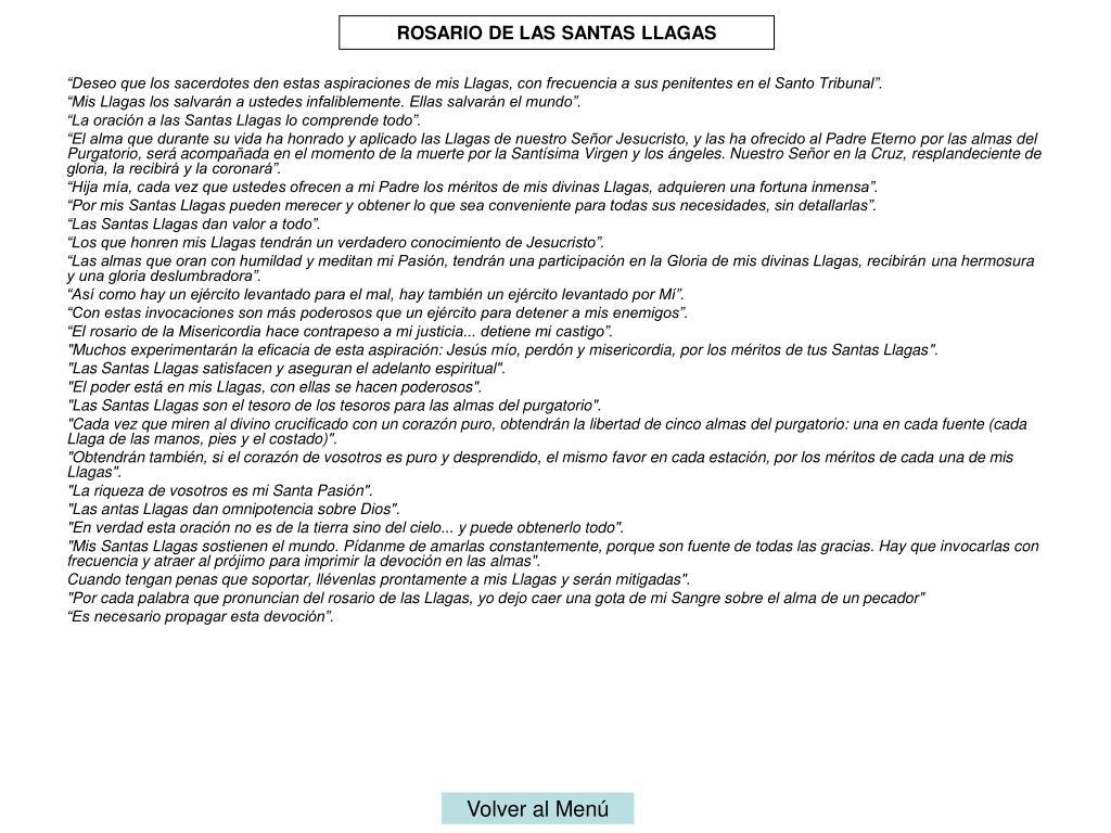 ROSARIO DE LAS SANTAS LLAGAS