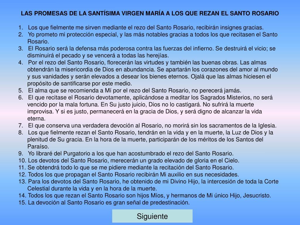 LAS PROMESAS DE LA SANTÍSIMA VIRGEN MARÍA A LOS QUE REZAN EL SANTO ROSARIO