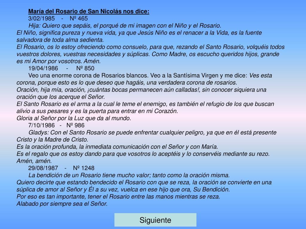 María del Rosario de San Nicolás nos dice: