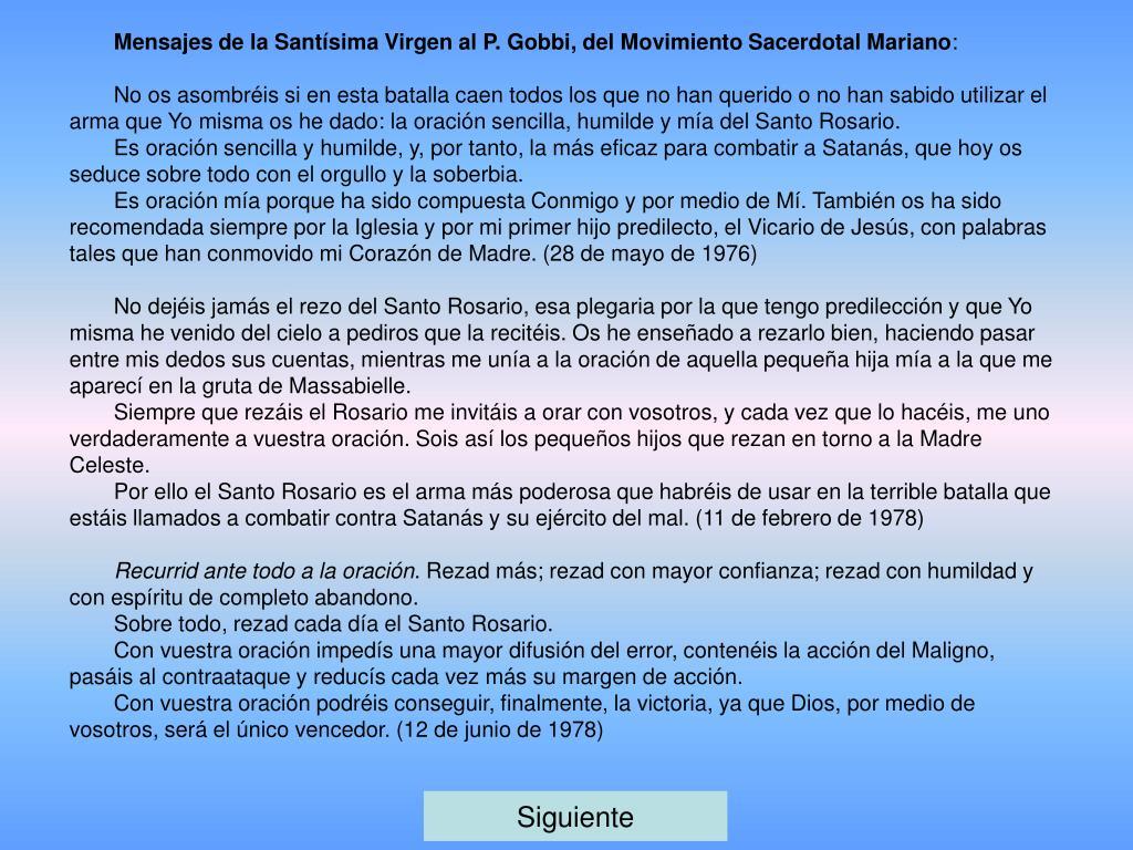 Mensajes de la Santísima Virgen al P. Gobbi, del Movimiento Sacerdotal Mariano