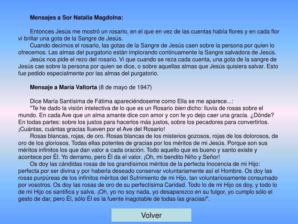 Mensajes a Sor Natalia Magdolna: