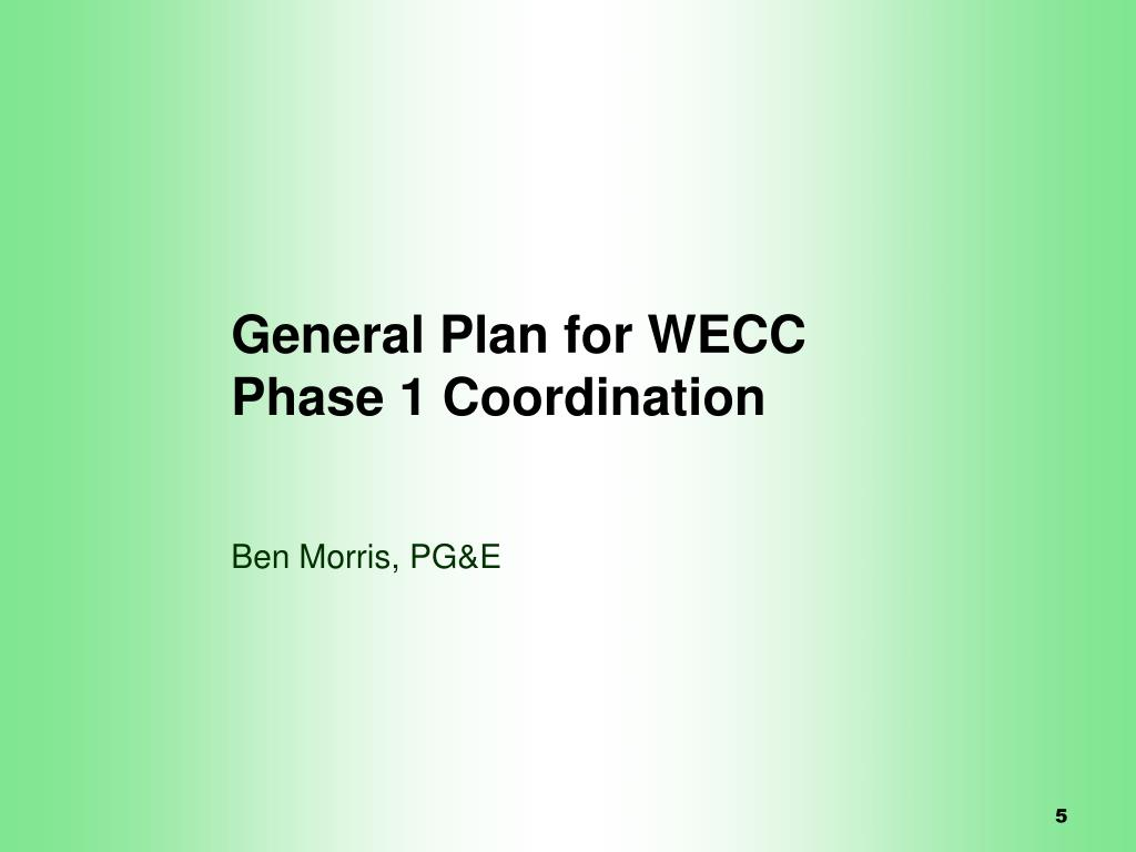 General Plan for WECC Phase 1 Coordination