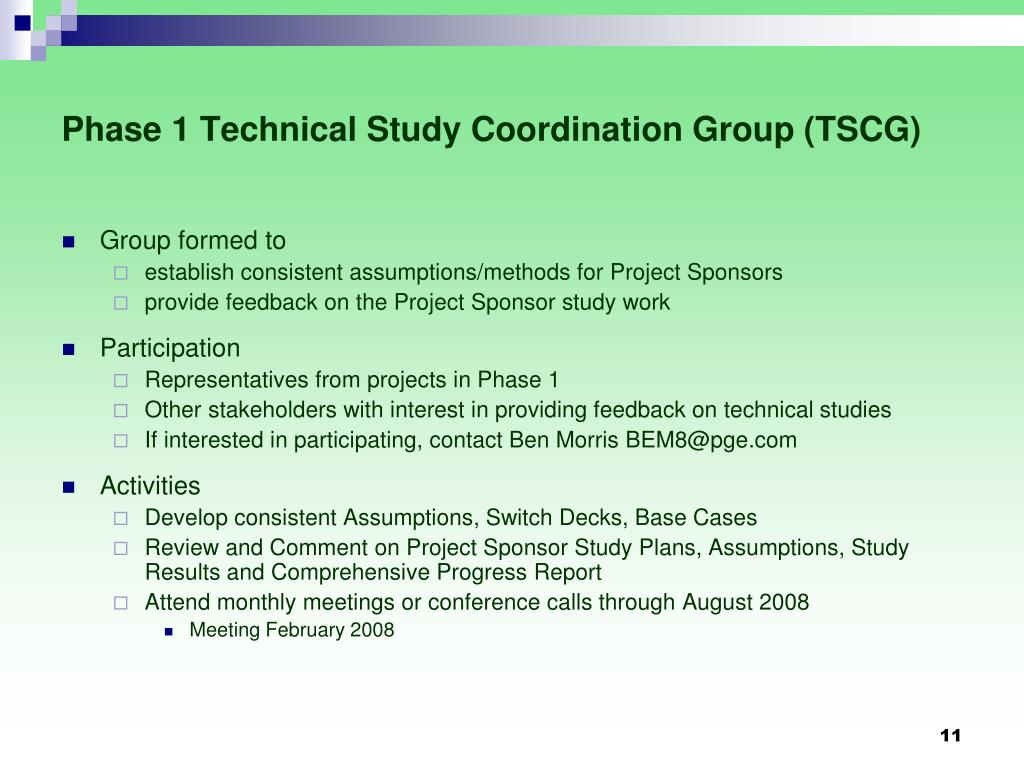 Phase 1 Technical Study Coordination Group (TSCG)