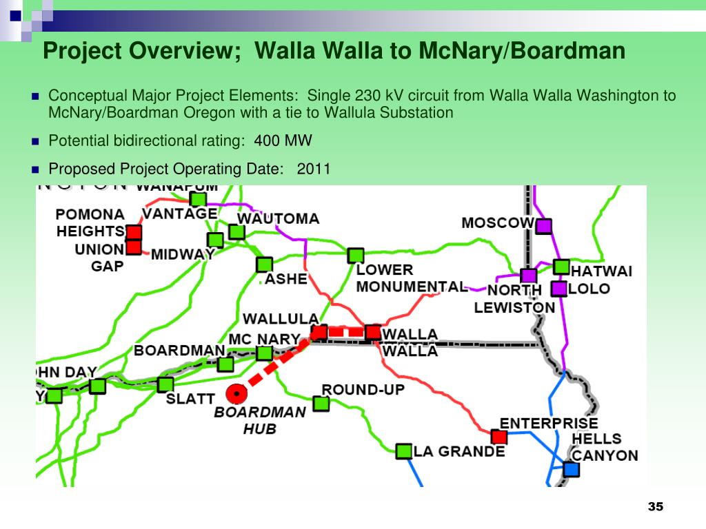 Project Overview;  Walla Walla to McNary/Boardman