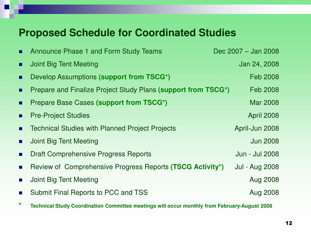 Proposed Schedule for Coordinated Studies