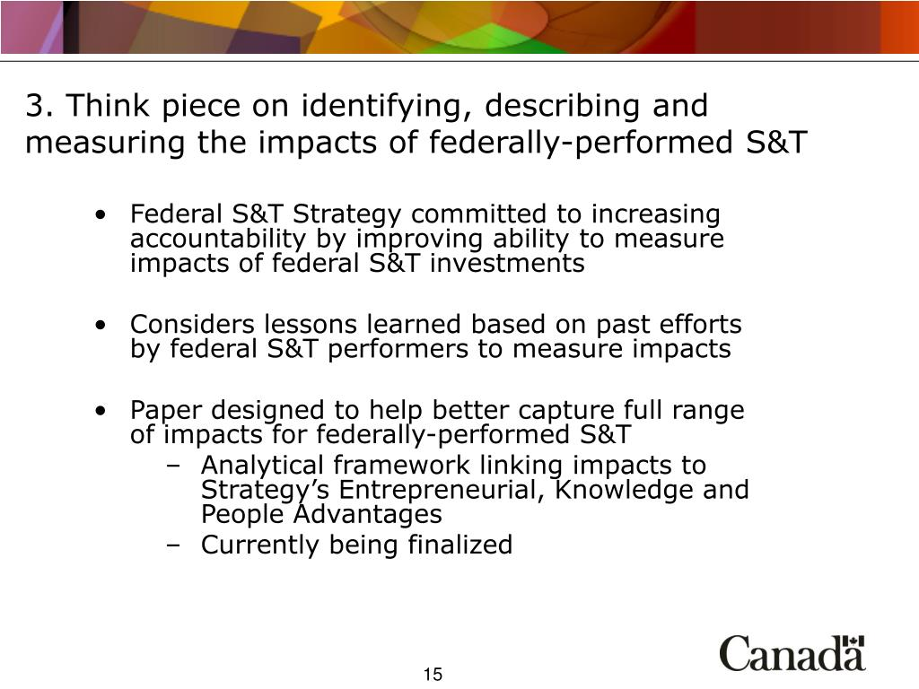 3. Think piece on identifying, describing and measuring the impacts of federally-performed S&T