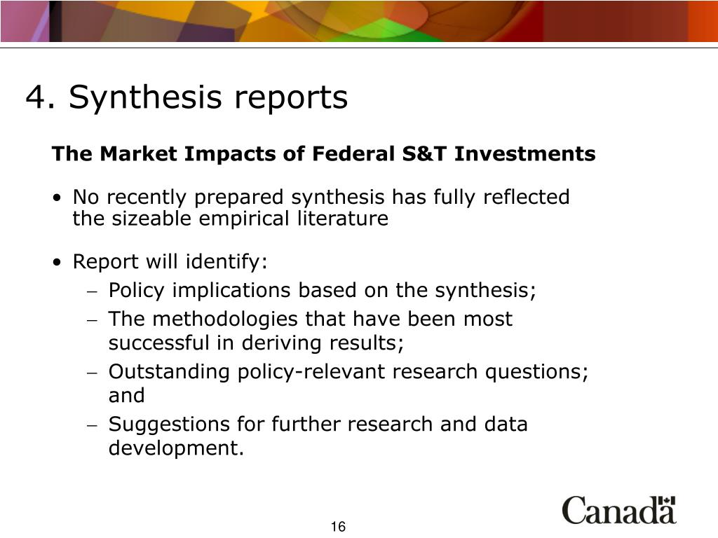 4. Synthesis reports