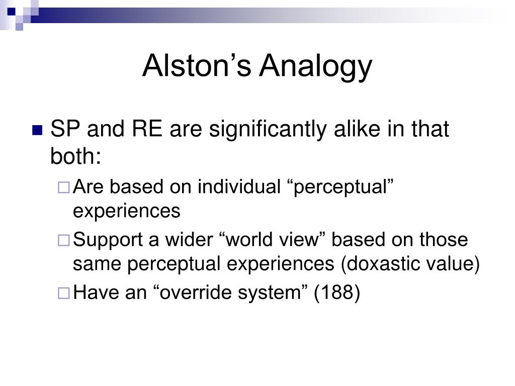 Alston's Analogy
